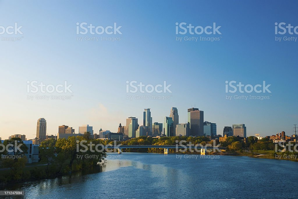 Minneapolis skyline and River in the morning royalty-free stock photo