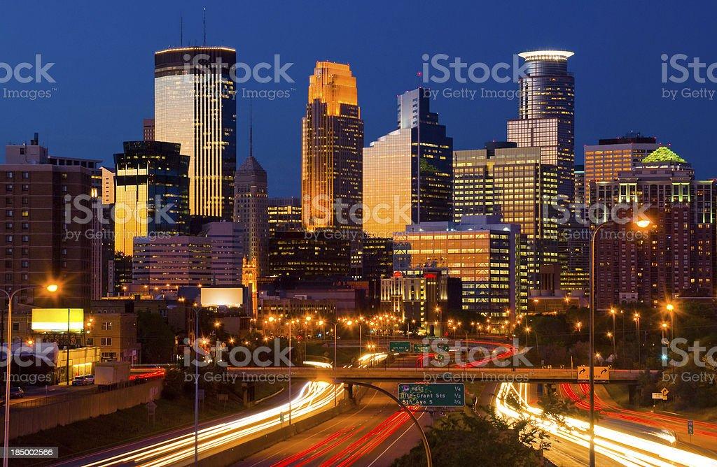 Minneapolis skyline at dusk royalty-free stock photo