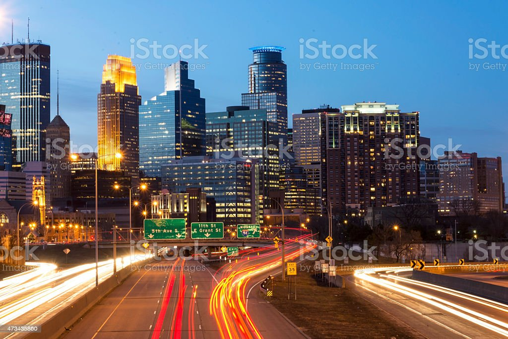 Minneapolis Skyline at Sunset Close stock photo