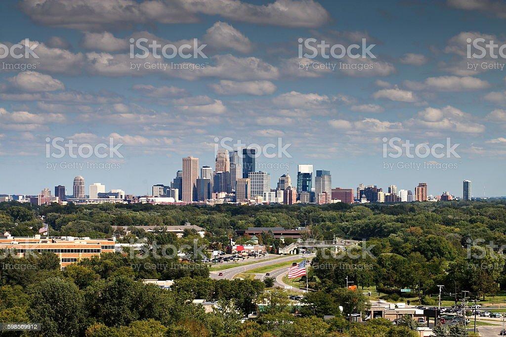 Minneapolis Skyline over Golden Valley from Plymouth, Minnesota stock photo