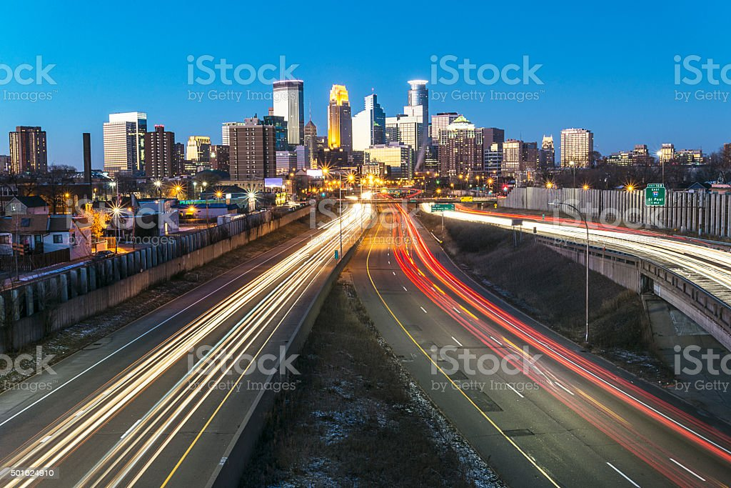 Minneapolis Skyline with Car Light Trails from Traffic stock photo
