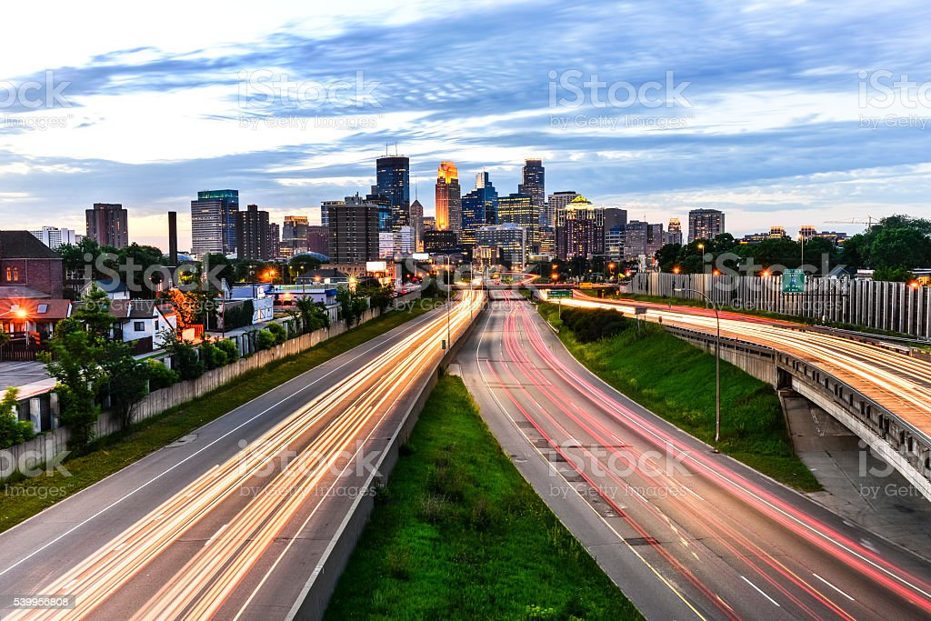 Minneapolis Skyline with Car Light Trails Wide stock photo