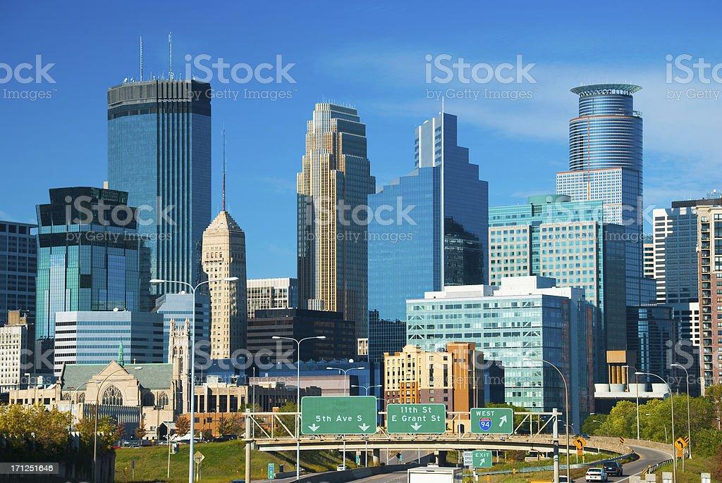 Minneapolis skyscrapers and skyline stock photo