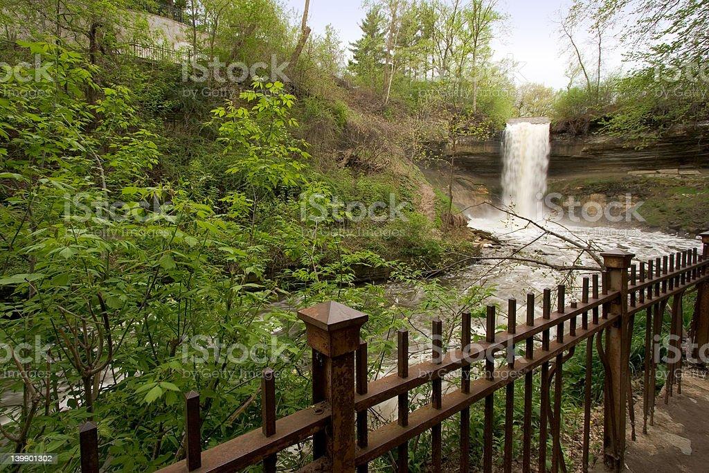 Minnehaha Falls in early spring royalty-free stock photo