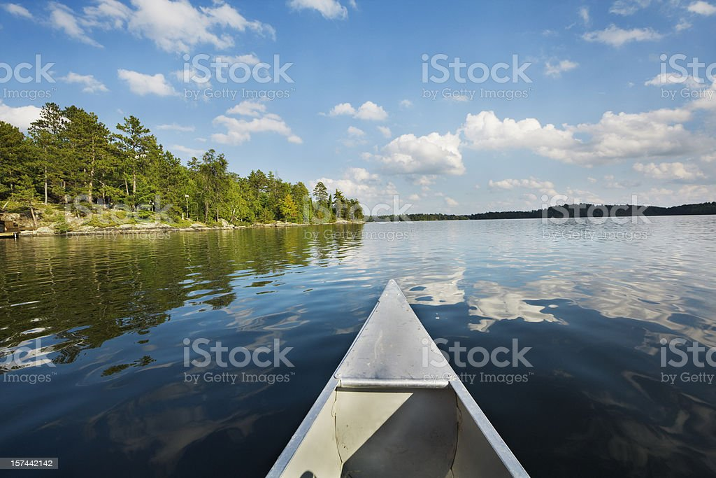 Minnesota Boundary Waters Canoe Area, Canoeing in Scenic Lake Landscape stock photo