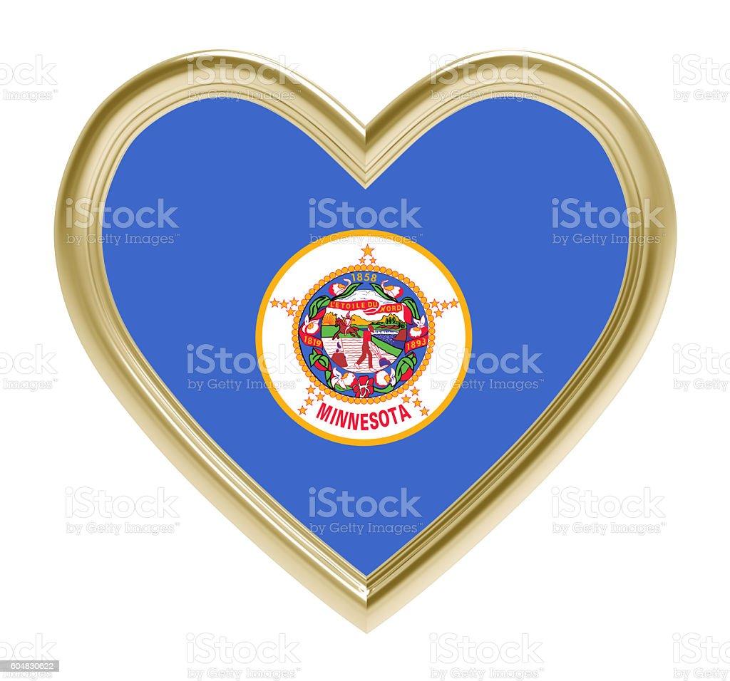 Minnesota flag in golden heart isolated on white background. stock photo