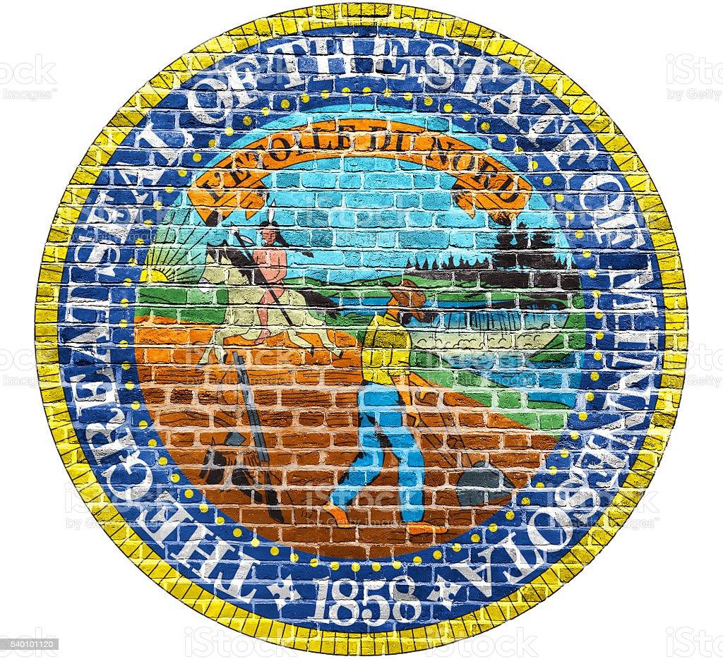Minnesota Seal US flag painted on old vintage brick wall stock photo