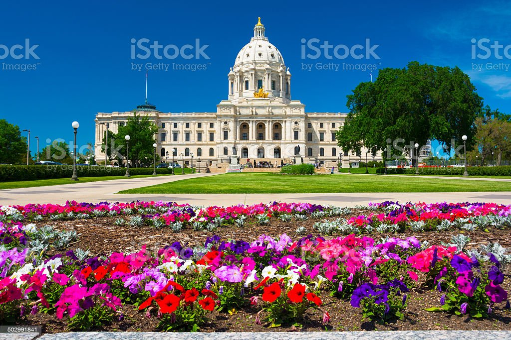Minnesota State Capitol and flowers stock photo