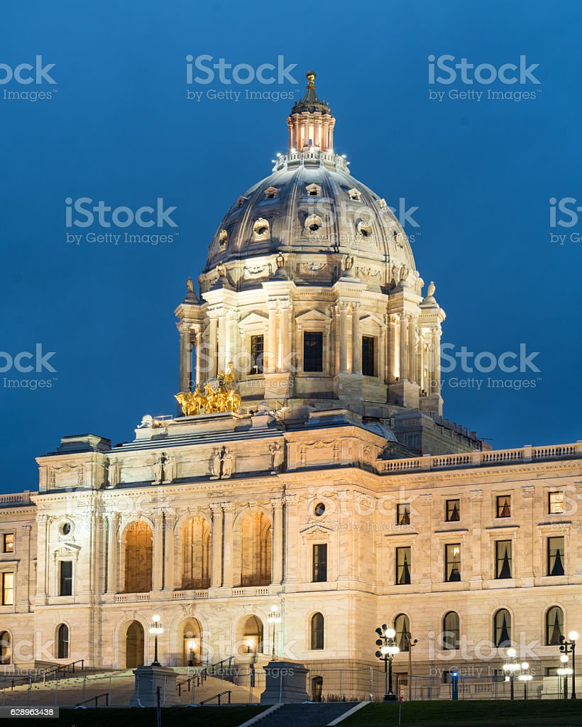 Minnesota State Capitol at Twilight stock photo