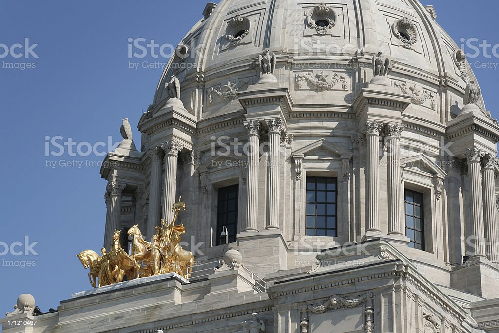 Minnesota State Capitol Dome, Government Building Exterior Detail, St. Paul royalty-free stock photo