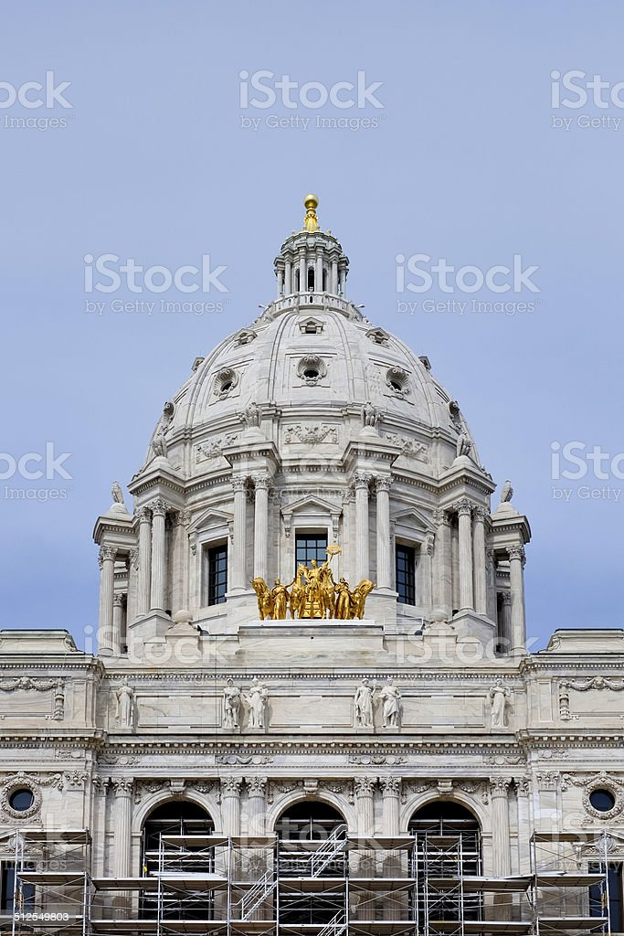 Minnesota State Capitol with scaffolding stock photo