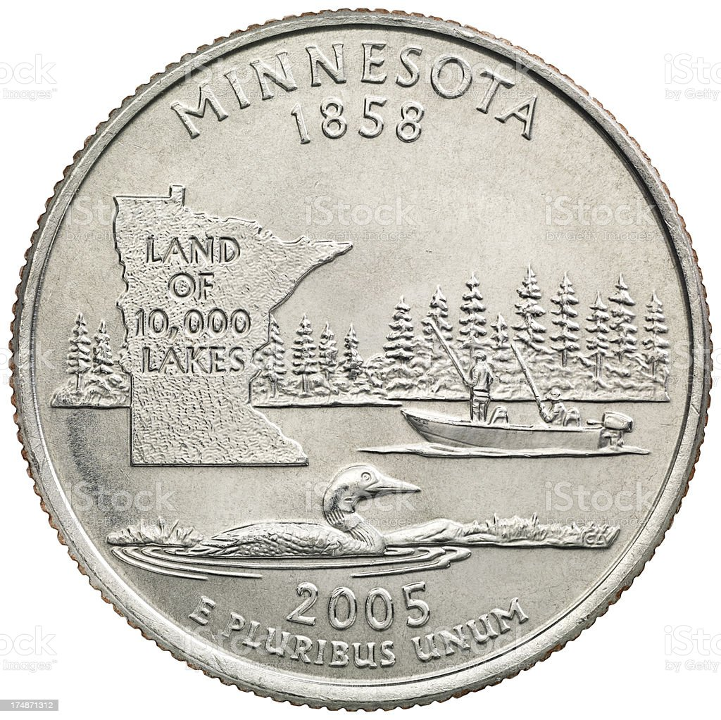 Minnesota State Quarter Coin royalty-free stock photo