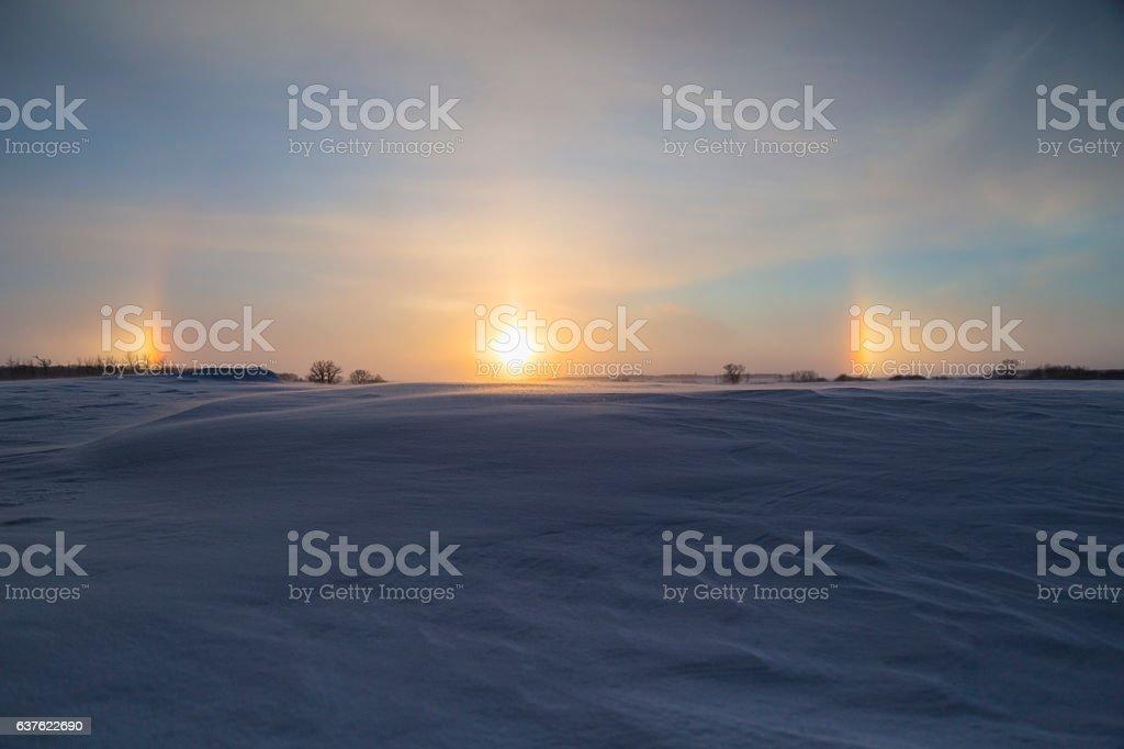 Minnesota Sundogs at Sunset stock photo