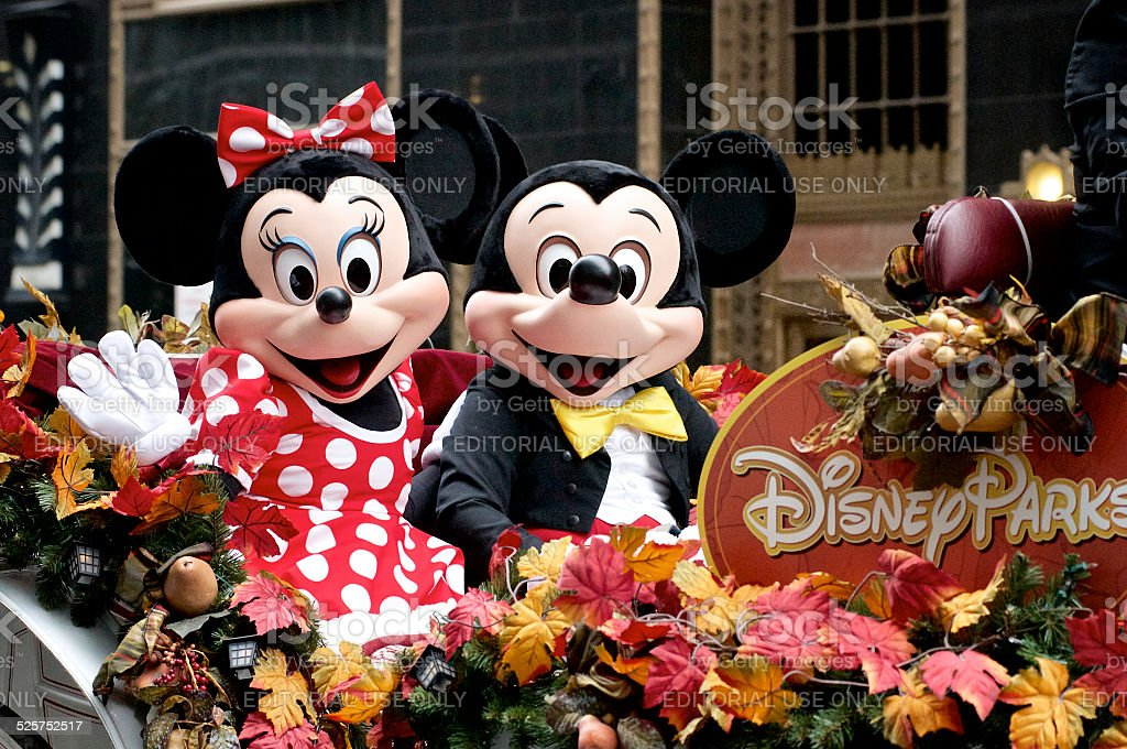 Minnie and Mickey Mouse ride Disney Parks float stock photo