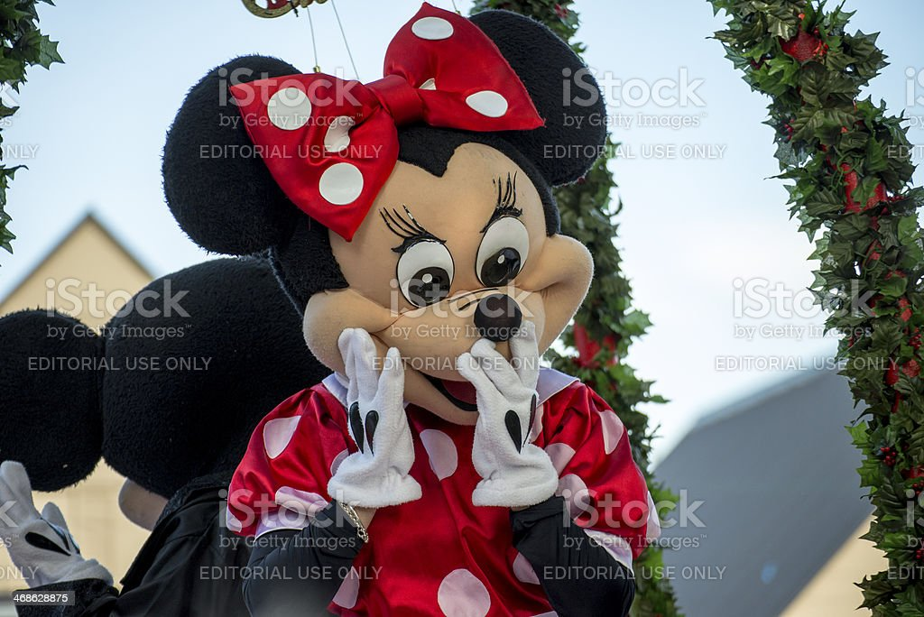 Minnie Mouse at a Hamner Springs Christmas Parade stock photo