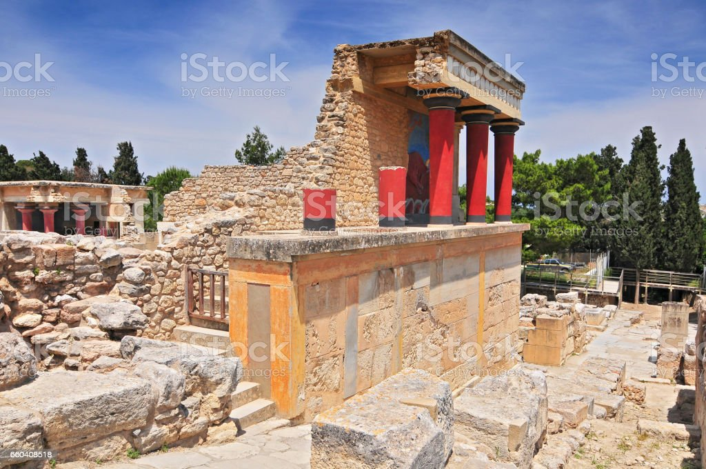 Minoan Palace of Knossos in Crete, Greece stock photo