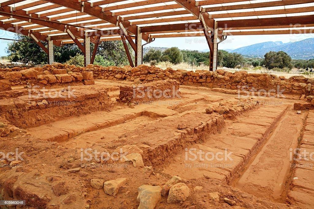 Minoan ruins at Malia, Crete. stock photo