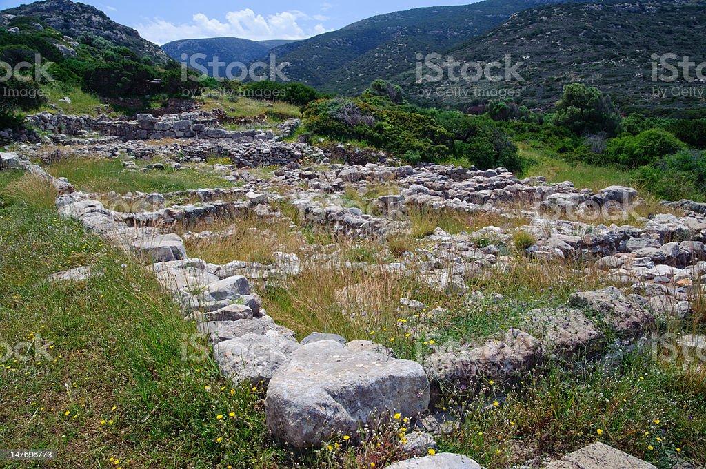 Minoan ruins in Gournia stock photo