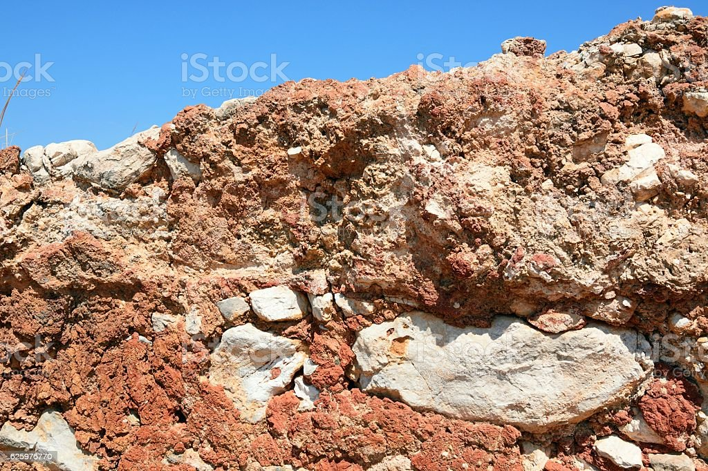Minoan wall detail, Malia. stock photo