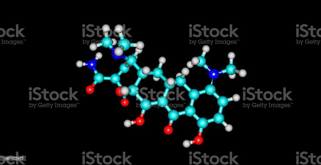 Minocycline molecule isolated on black stock photo