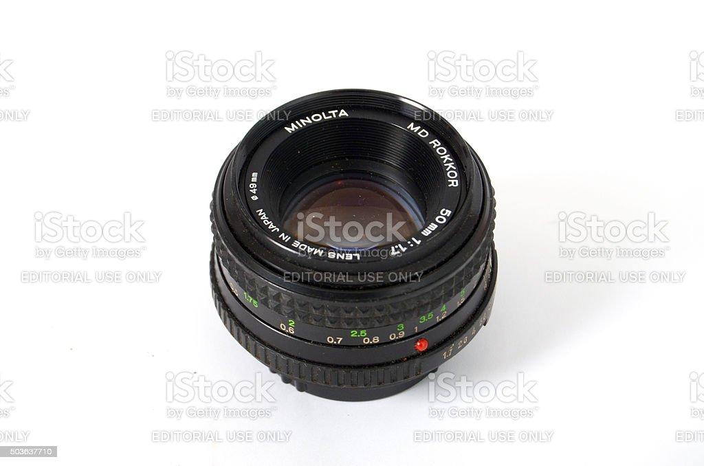 Minolta  Camera Lens Isolated On White stock photo