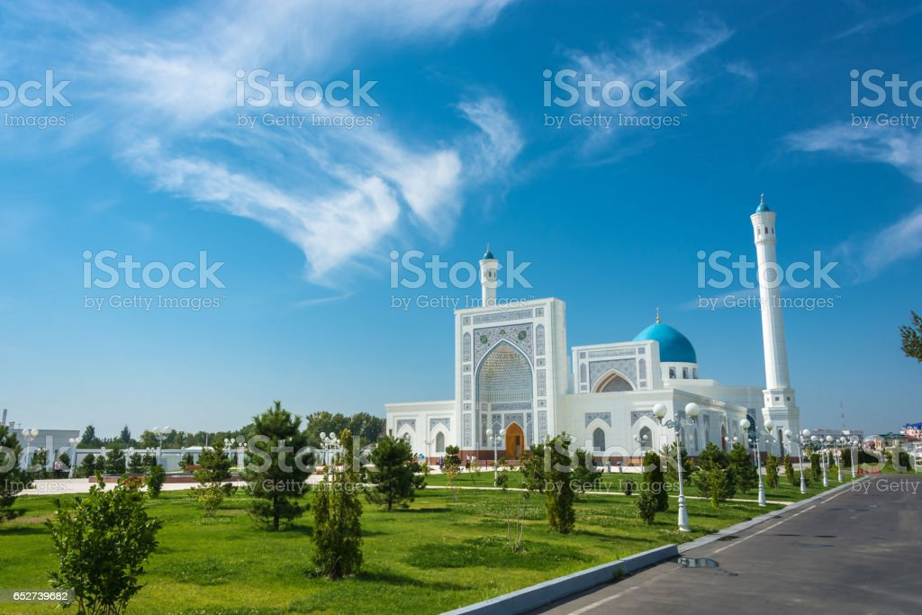 Minor White Mosque in Tashkent, Uzbekistan. stock photo