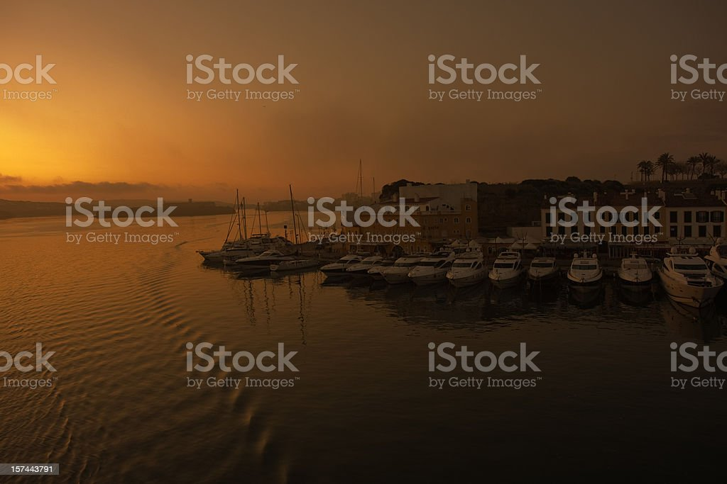 Minorca yacht harbour at sunrise stock photo