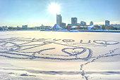 Minsk. Footprints in the snow