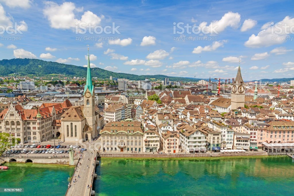 Minster Fraumunster and St. Peter church with city center of Zurich, Switzerland - aerial view stock photo