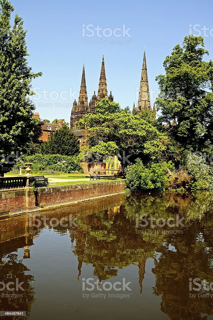 Minster pool and Cathdral, Lichfield, England. stock photo