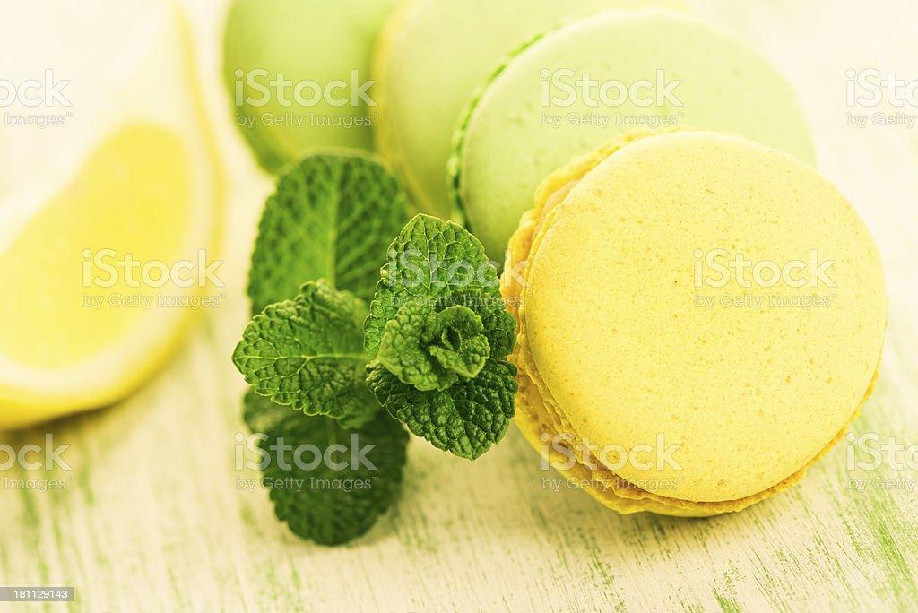Mint And Lemon Macaroons royalty-free stock photo