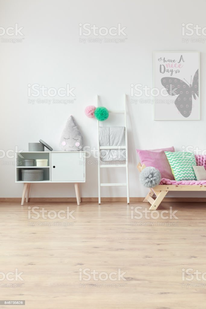 Mint and pink pillow stock photo