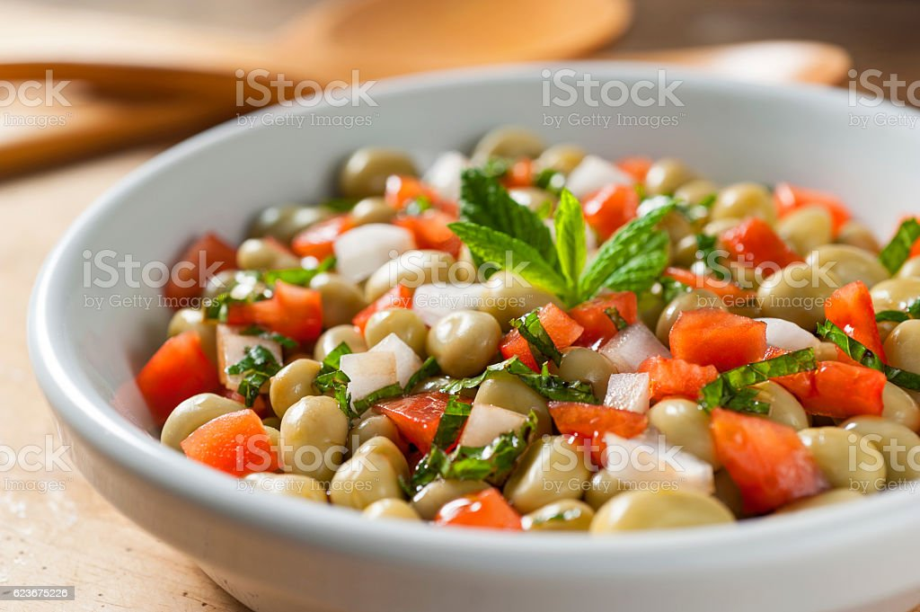 mint broad baby bean salad stock photo