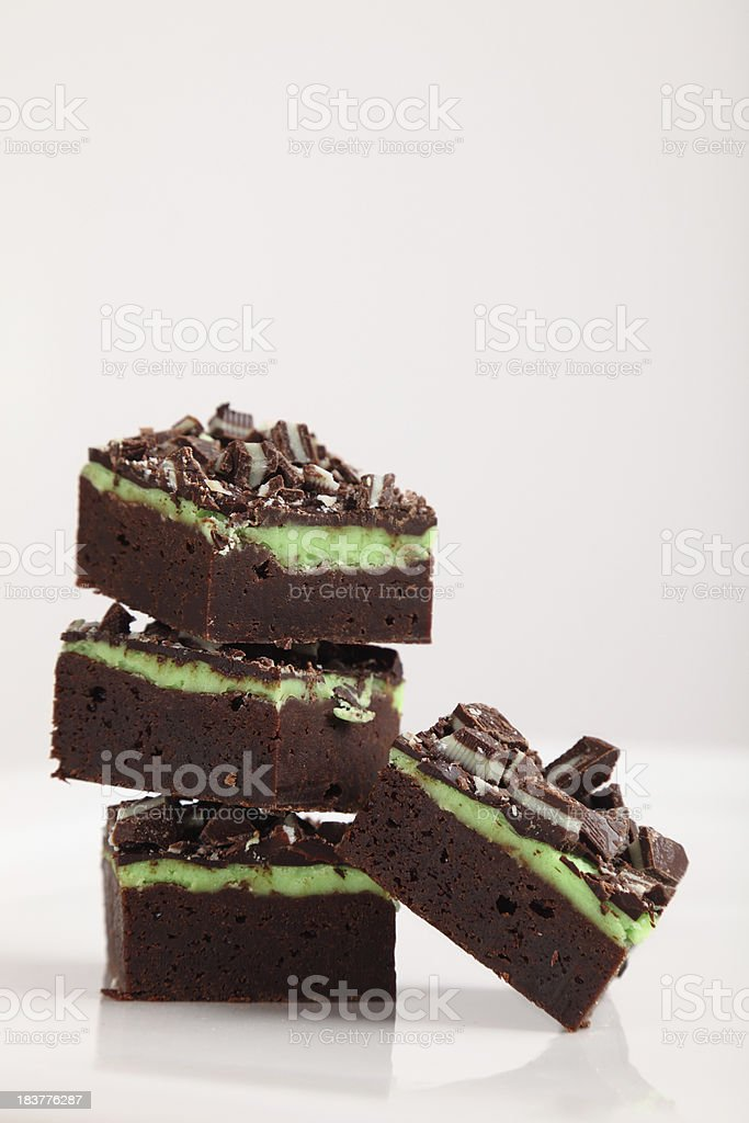 Mint Chocolate Fudge Brownies royalty-free stock photo