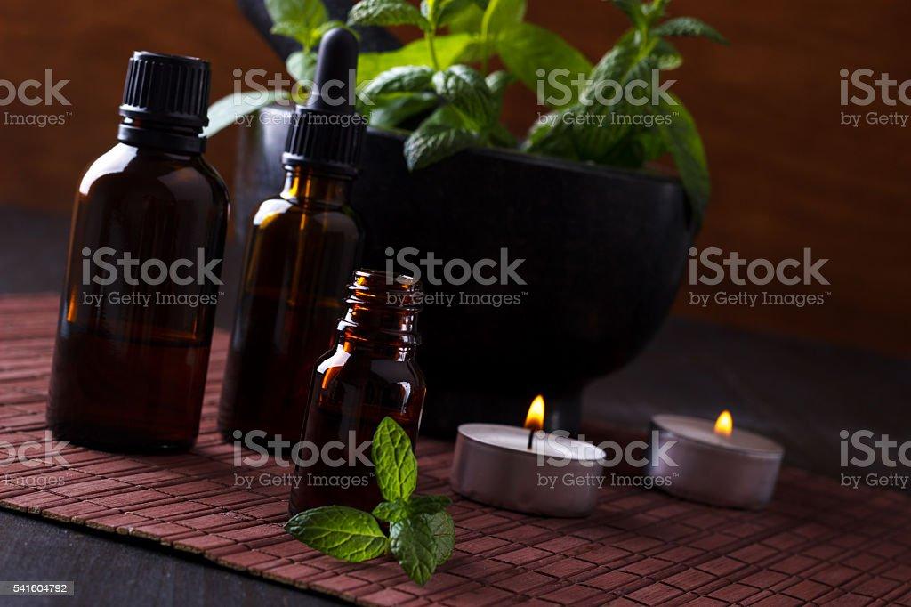 Mint essential oils stock photo