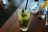 Mint Mojito Cocktail Drink in Restaurant Bar