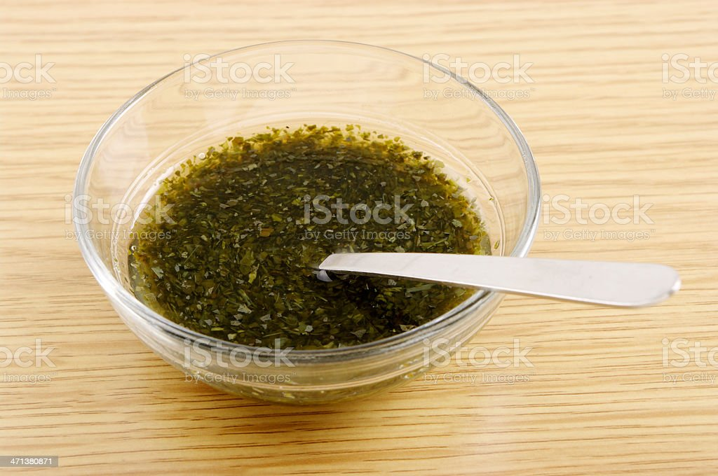 Mint Sauce In Glass bowl With Spoon stock photo