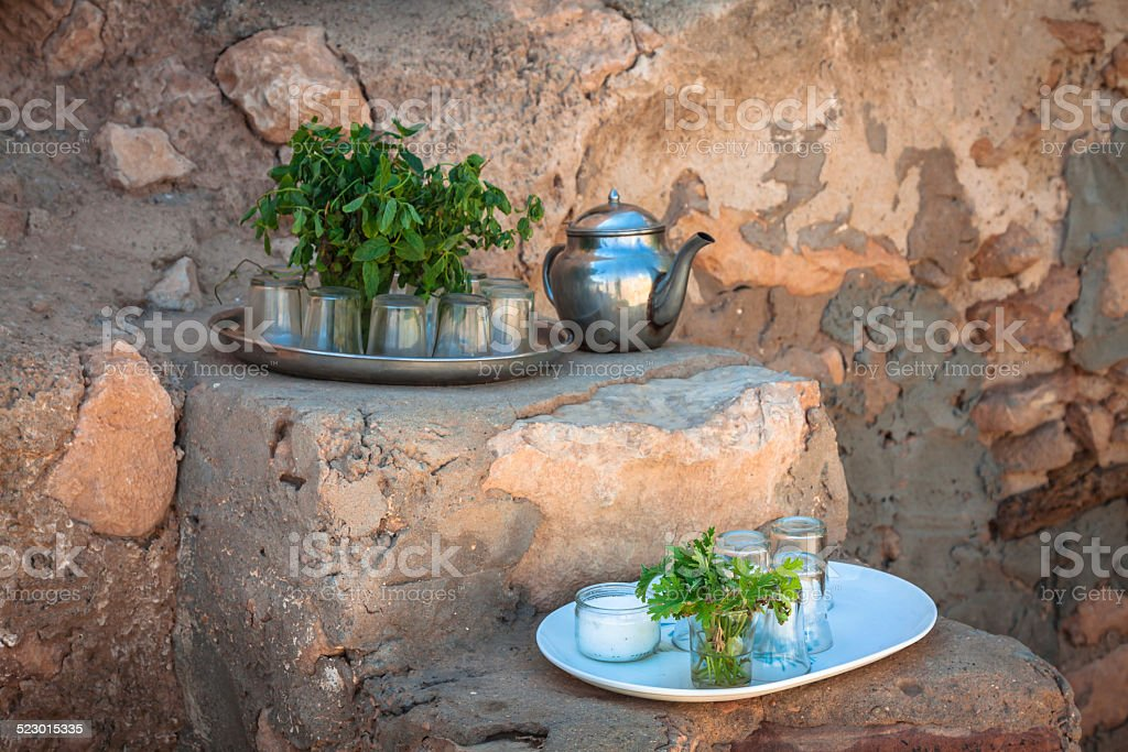 Mint tea: a kettle and a glass stock photo