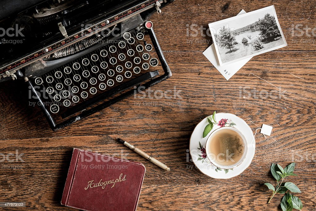 Mint Tea and Vintage Typewritter from Above stock photo