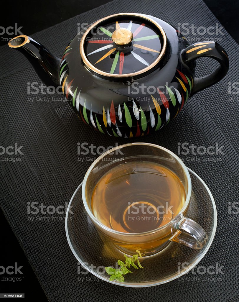 Mint Tea & Black Teapot stock photo