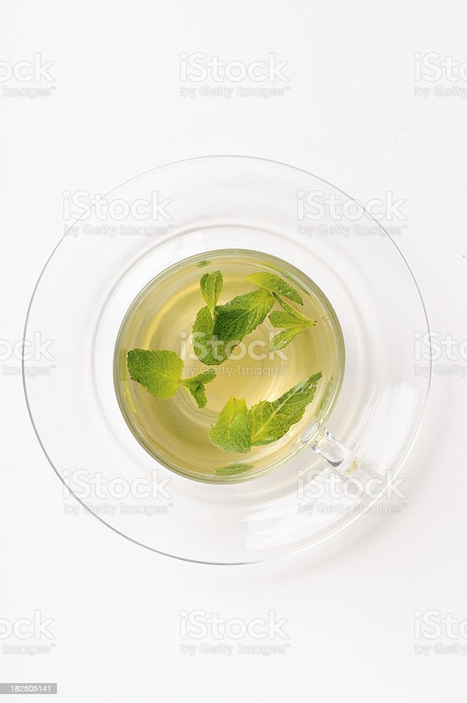 Mint tea in hot water on white royalty-free stock photo