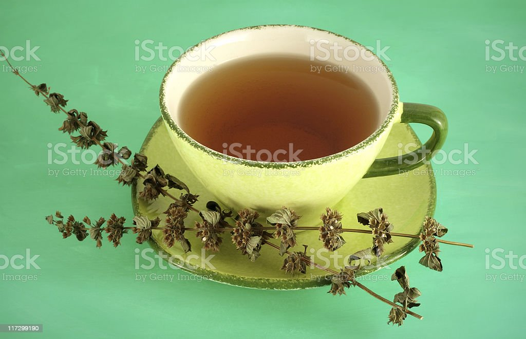 Mint Tea On Green royalty-free stock photo