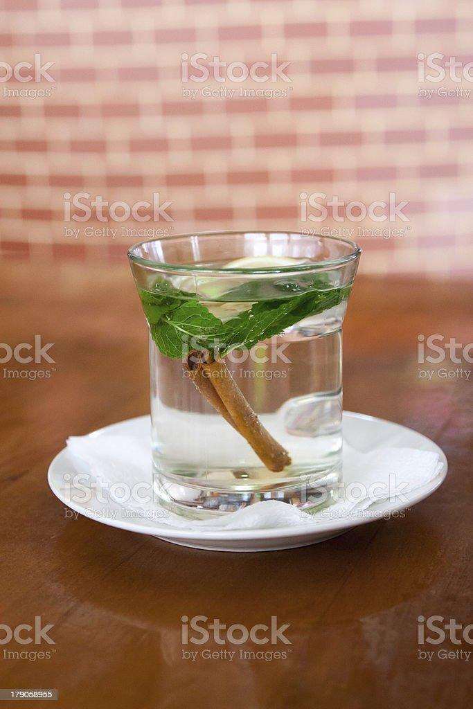 mint tea with lemon and cinnamon royalty-free stock photo