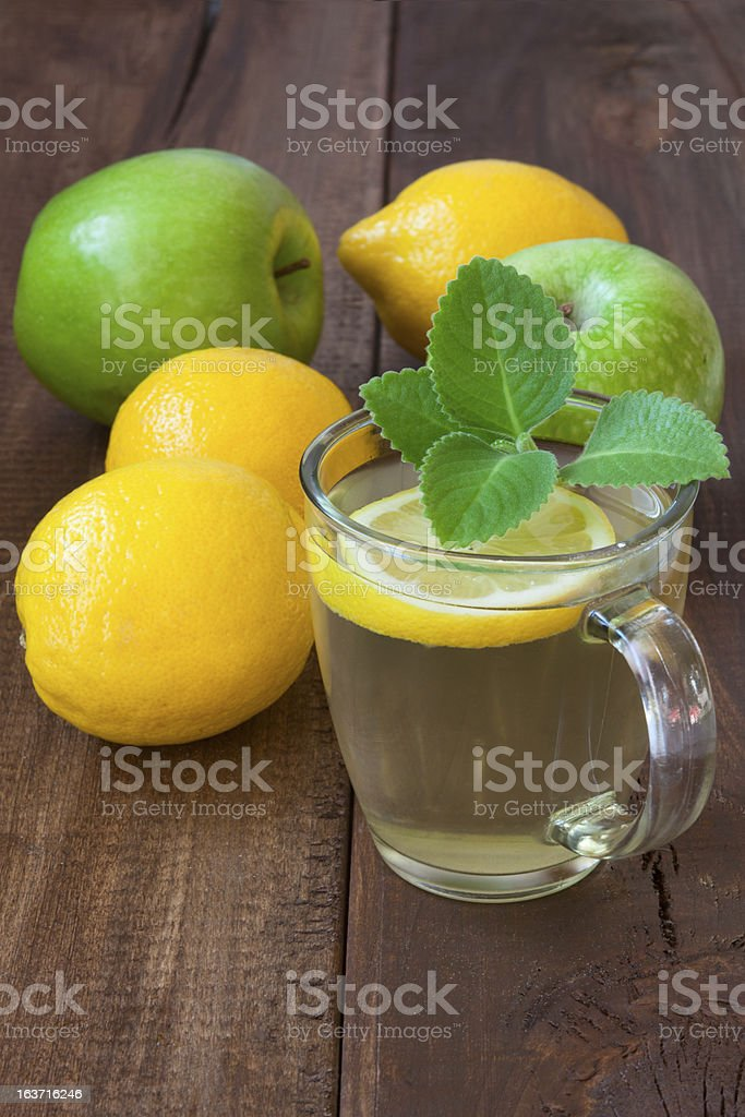 mint tea with lemon on a wooden table royalty-free stock photo