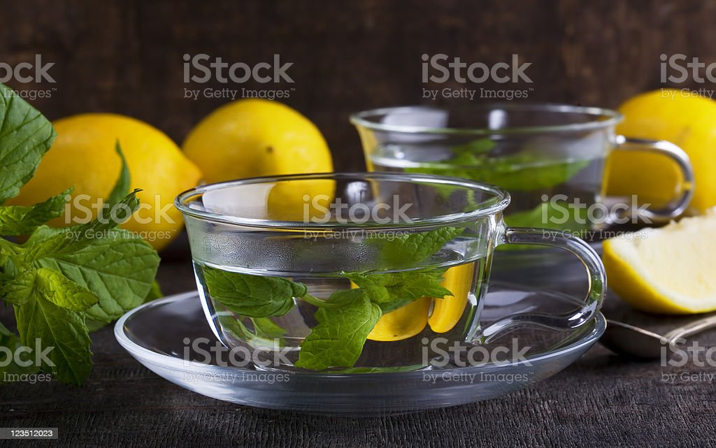 Mint tea with lemon royalty-free stock photo