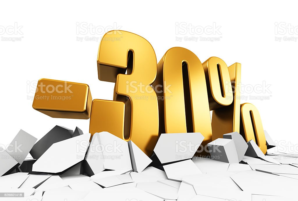 Minus 30 percent sale and discount advertisement concept stock photo