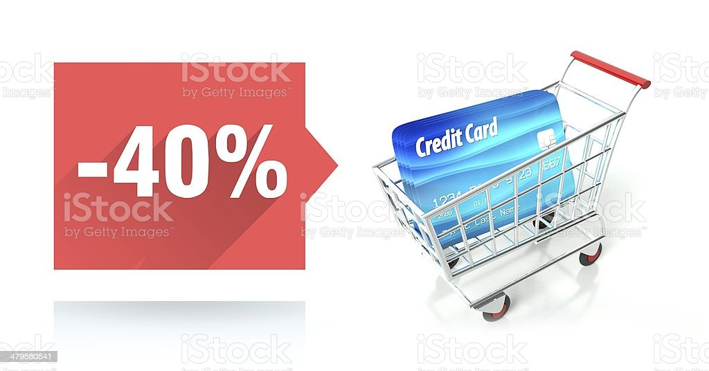 Minus 40 percent sale, credit card and shopping cart royalty-free stock photo