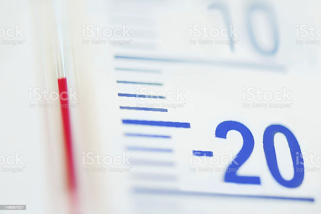 Minus degree on temperature scale stock photo