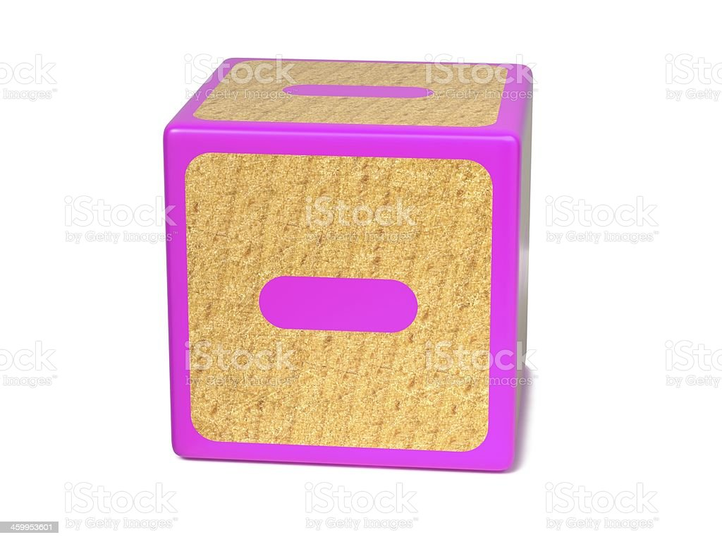 Minus Sign - Childrens Alphabet Block. stock photo