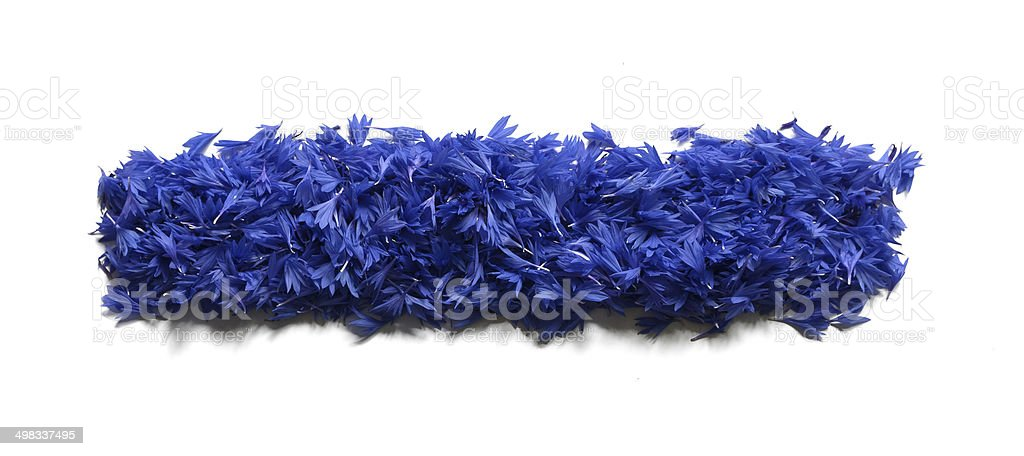 minus sign made of flowers (cornflowers) isolated on white background stock photo